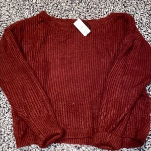 Express red sweater, slight balloon sleeves